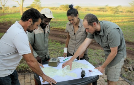 The team defining the camera locations ...